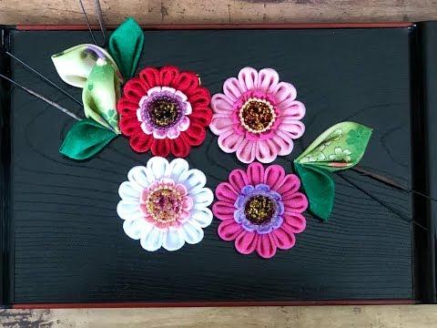 【100均材料だけで つまみ細工】ガーベラ Gerbera fabric flower kanzashi flower DIY