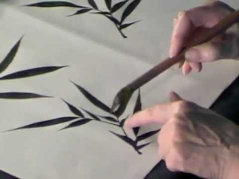 How to paint Black Ink Bamboo leaves in Sumi-e Chinese Brush technique