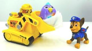 Видео с игрушками из мультика Щенячий Патруль! Герои мультфильмов спасают птенца Диги Бердс!