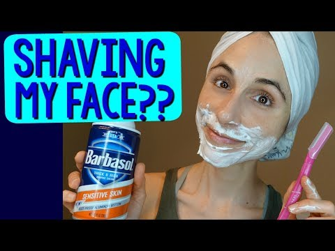 a dermatologist shaves her face for the 1st time