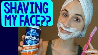 A dermatologist shaves her face for the 1st time 😊💄