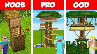 Minecraft NOOB vs PRO vs GOD: JUNGLE TREE HOUSE BUILD CHALLENGE in Minecraft / Animation