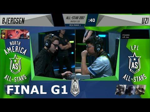 Bjergsen Zoe vs Uzi Kalista   Game 1 Grand Final 1v1 All-Stars 2017   NA vs CN G1