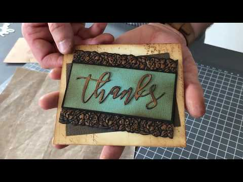 How to create a card with Tim Holtz Impresslits Embossing Folders - Sizzix