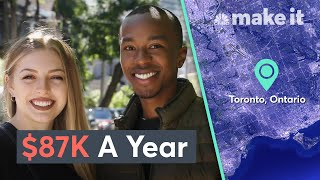 "Steph Gordon, 24, makes $44,235 per year and Den Mathu, 24, makes $42,765 per year. They work at ""Big Four"" accounting firms and live in Toronto, Ontario. Since Canada suspended student loan payments during the pandemic, the two have been able to save more. Den, who used to put nearly $1,000 a month toward his student debt, is now putting all of that money toward an emergency fund.  This is an installment of CNBC Make It's Millennial Money series, which profiles how subjects earn, spend and save their money.  Read more about their budget breakdown here: https://cnb.cx/3dQLO6l  Check out Steph and Den on YouTube here: https://www.youtube.com/StephDen  Steph Gordon, 24, and Den Mathu, 24, had their first conversation about money before they even started dating. The couple, who met in 2017 while interning at the same company the summer before their last year at the University of Ottawa, remember discussing salary transparency with their peers and sharing what they each earned.  After they started dating, about three years ago, one of their first money talks as a couple was about their different backgrounds and early relationships with money: Den, who was born in Kenya and came to the U.S. with his family when he was six, ""didn't really have much"" growing up, he tells CNBC Make It. ""We struggled a lot."" From an early age, ""I associated money with a better future and a better life for your family.""   While Den didn't learn much about money management as a kid, he knew that he wanted to earn a lot one day. That's part of the reason he chose to get a business degree and pursue consulting after graduating university. He's not making nearly as much as he eventually wants to — he earns $42,765 USD* (CNBC Make It converted all the figures from CAD to USD) as a consultant at a ""Big Four"" accounting firm — but that's standard for someone just starting out in his industry, he explains: ""I knew what I was signing up for. You don't necessarily make a lot in the beginning, but hopefully, as you gain experience over time, that translates into more income.""  Steph, whose dad is an accountant, had more guidance as a kid when it came to money management. Her father is very savings-focused and impressed on her specific financial principles that she still lives by today, she says: ""You save more than you spend. You live within your means. You pay off any debt you have right away.""  She's been saving since she was 14, when she got her first job working at the front desk at a gym. Even then, ""I didn't see half of my paycheck,"" she recalls. ""It went right into my savings that I used when I went to school.""   Today, she earns a lot more working as a strategy and operations coordinator also at a Big Four firm — $44,235 — but she still saves about half of her income and has built up about $17,000 in savings. Part of the reason she's able to save so much is because her parents helped fund her education and she graduated debt-free from the University of Ottawa in 2018 with a business degree.  Den, on the other hand, who also earned a business degree at the same university, graduated with about $30,000 in student debt. While he makes roughly the same amount as his girlfriend and has the same fixed costs, he doesn't have nearly as much in savings: closer to $5,000. Before the pandemic, he was putting all of his extra money at the end of the month toward his loans and barely anything in a savings account.  » Subscribe to CNBC Make It.: http://cnb.cx/2kxl2rf  About CNBC Make It.: CNBC Make It. is a new section of CNBC dedicated to making you smarter about managing your business, career, and money.  Connect with CNBC Make It. Online Get the latest updates: https://www.cnbc.com/make-it Find CNBC Make It. on Facebook: https://cnb.cx/LikeCNBCMakeIt  Find CNBC Make It. on Twitter: https://cnb.cx/FollowCNBCMakeIt  Find CNBC Make It. on Instagram: https://bit.ly/InstagramCNBCMakeIt  #CNBC #CNBCMakeIt #MillennialMoney  Living Together On $87K A Year In Toronto 