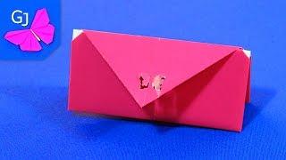 Смотреть онлайн Как сделать бумажный кошелек, поделки с детьми