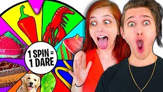 Spinning a Wheel & Eating Whatever it Lands on Challenge w/ Girlfriend!