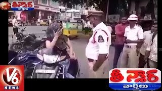 Hyderabadi Woman Fight With Traffic Police | Teenmaar News | V6 News