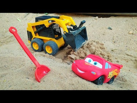 Lightning McQueen - A Toy Car Stuck In The Sand. Disney Cars.