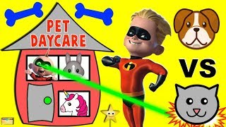 The Incredibles 2 Violet & Dash Get Jobs PET DAYCARE | Dogs vs Cats vs Unicorns Surprise Toys
