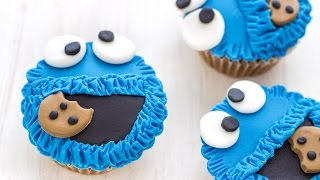 Cookie Monster Fondant Cupcake Toppers Tutorial