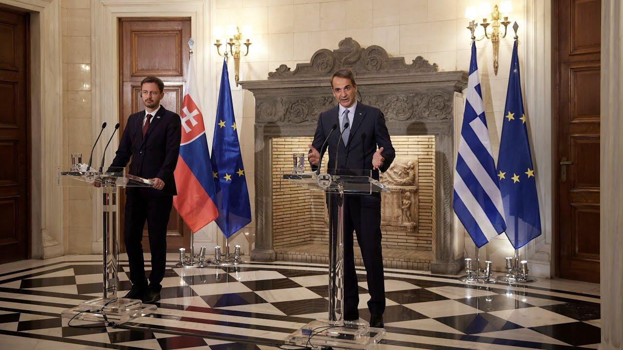 Κοινές δηλώσεις του Πρωθυπουργού Κυριάκου Μητσοτάκη με τον Πρωθυπουργό της Σλοβακίας Eduard Heger