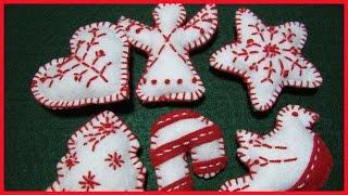 How To Make Christmas Felt Ornaments No.2 - With Subtitles