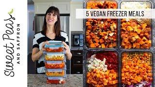5 Vegan Freezer Meals In 1 Hour!
