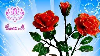 Смотреть онлайн Как плести розу из бисера своими руками