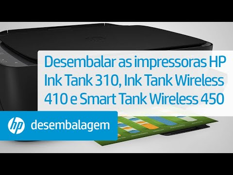 Desembalar as impressoras das séries HP Ink Tank 310, Ink Tank Wireless 410 e Smart Tank Wireless 450