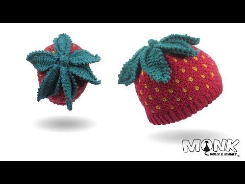 Mütze häkeln - Erdbeerbeanie - Erdbeermütze häkeln