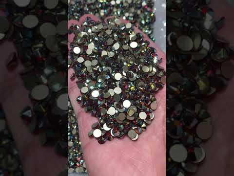 Dark Siam AB Glass Flat Back Glue-On Rhinestones 16 Cut Facets