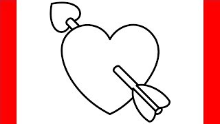 How To Draw Heart With Arrow Emoji - Step By Step Drawing