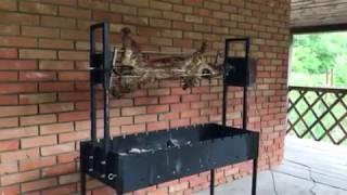 Вертел с электроприводом до 25 кг на мангал - Электропривод для вертела с крестовиной - Вертел крестообразный - видео 1