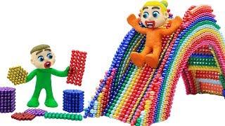 SUPERHERO BABY BUILDS MAGNETIC SLIDE 💖 Play Doh Stop Motion Cartoons