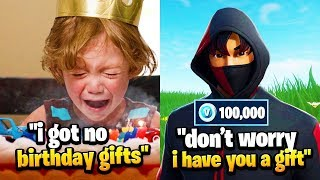 8 Year Old Got No BIRTHDAY GIFTS, So I Gave Him 100,000 V-Bucks... (Fortnite)