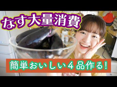 , title : '【なすを大量消費】8本で4品!簡単レシピでたくさん作る!【料理音フェチASMR】