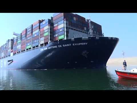نجاح عبور أكبر سفينة حاويات في العالم CMA CGM ANTOINE DE SAINT EXUPERY بحمولة 223.5 ألف طن وتستطيع أن تحمل حتى 21 ألف حاوية