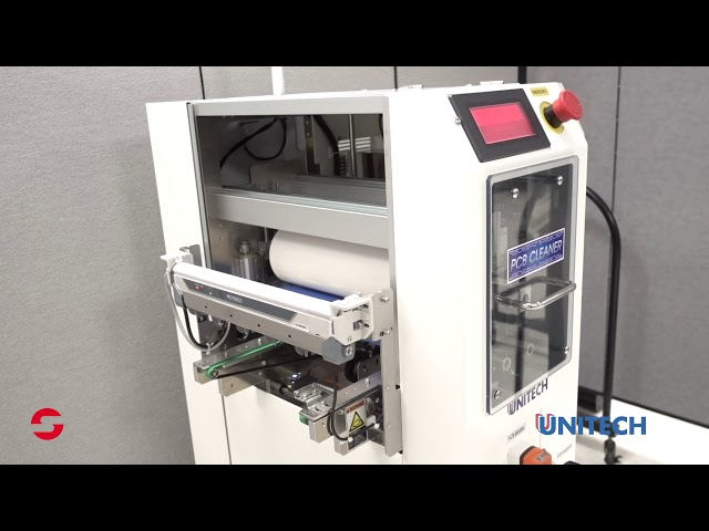 Introduction to the Unitech UC-250M-CV PCB Cleaner. Multi-stage in-line bare PCB surface cleaner. Brush/vacuum, rubber roller/sticky paper, & Ionized air blower.