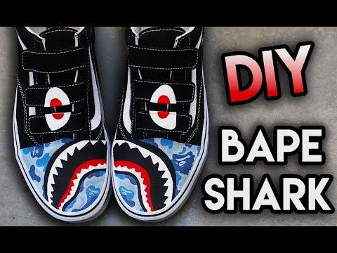 Video Thumbnail of HOW TO: BAPE SHARK TEETH YOUR SHOES ! SUPER EASY STENCIL METHOD | VANS CUSTOM