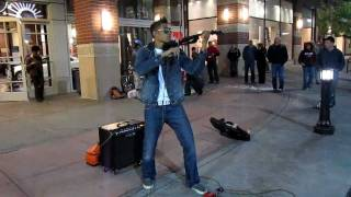 Bryson Andres performing pop music in Downtown Spokane