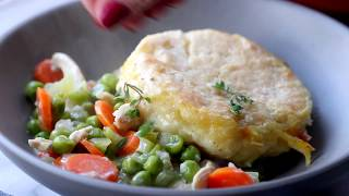 CHICKEN POT PIE WITH CREAM OF CHICKEN SOUP AND BISCUITS