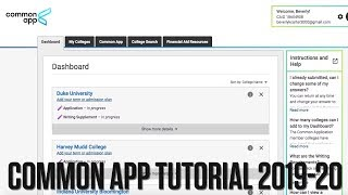 How to Guide to the Common Application (2019-2020) | Tutorial