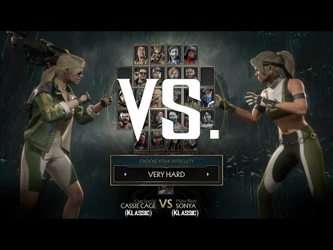 Mortal Kombat 11 Klassic Cassie Cage vs Klassic Sonya Blade (Very Hard Difficulty) - BUBBYLOX