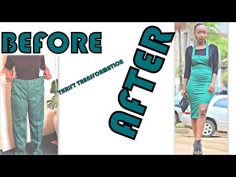 THRIFT TRANSFORMATION: PROJECT # 17 |Green Dungaree Structured Skirt| Aimies Closet