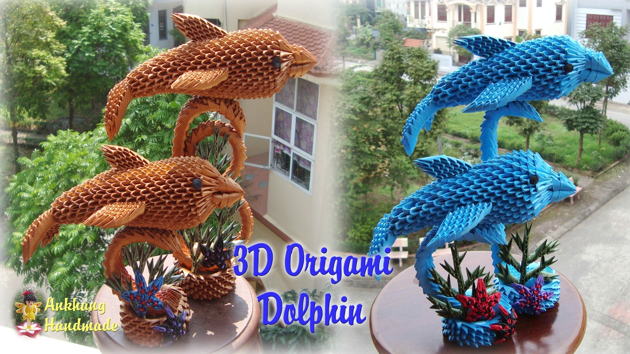 3d Origami Dolphin Paper Dolphin Handmade Decoration Youtube