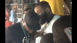 The Game Pulls Up To 50 Cent and James Harden Day Party