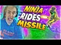 Ninja Rides A Guided Missile on Fortnite Battle Royale *BEST PLAYS* Fortnite FUNNY & Best Moments!