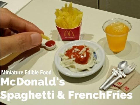 DIY Mini McDonald's spaghetti & French Fries Edible (miniature cooking) (mini food) (ASMR)