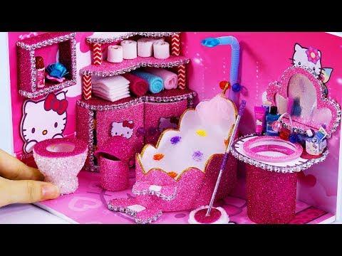 DIY Miniature Dollhouse Bathroom ~ Hello Kitty Room Decor #58