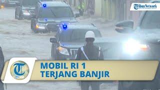 Video Momen Mobil Rombongan Jokowi Terobos Banjir di Kalsel, Masuk ke Air hingga Bumper