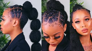 SPICY $5 BUBBLE PONYTAIL on SHORT 4c Natural Hair- ft Outre X-pression Soft Reggae Braid