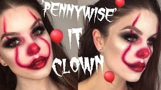 EASY PENNYWISE CLOWN   IT MOVIE HALLOWEEN MAKEUP TUTORIAL   RhiannonClaire