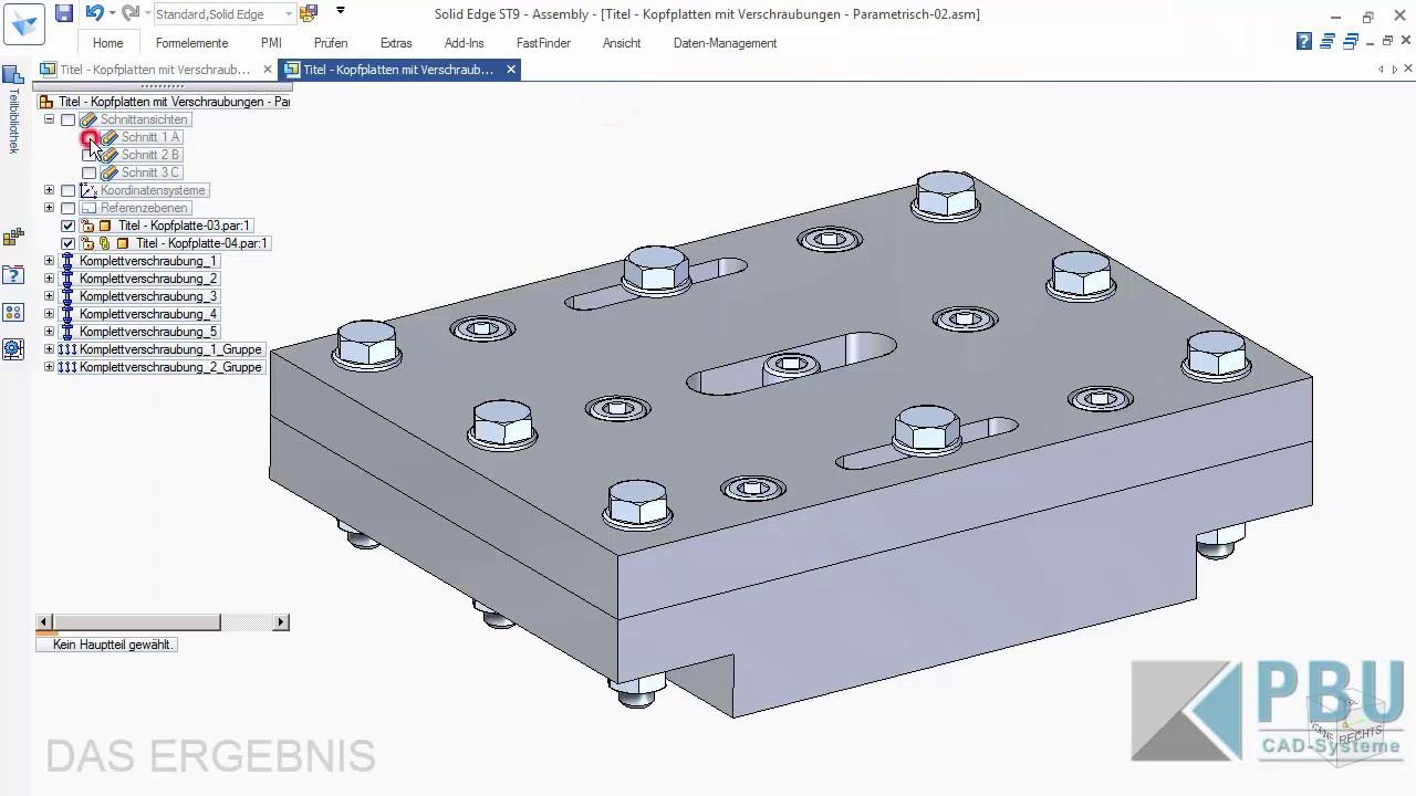 Vorschaubild: Solid Edge Tutorial: Verschraubungen und die Komplettverschraubung