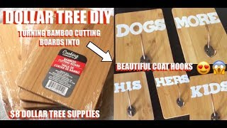 DOLLAR TREE DIY • BAMBOO COAT HOOKS FARMHOUSE DECOR