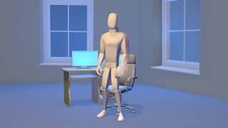 Финальная версия вставания персонажа со стула и этапы анимации.