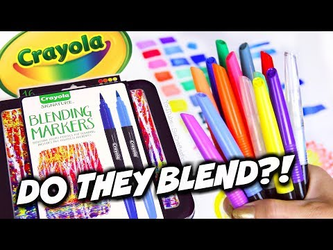 CHEAP MARKERS THAT BLEND?! Unboxing & Review + Swatches of CRAYOLA BLENDING MARKERS