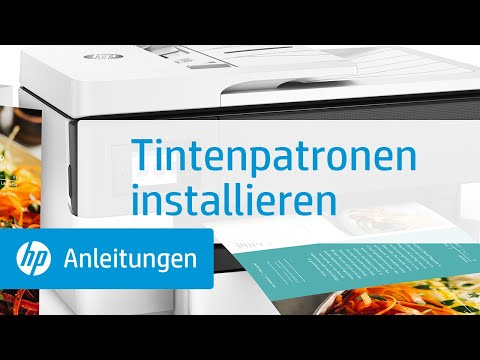 So installieren Sie Tintenpatronen bei Druckern der HP OfficeJet Pro 7720/7730/7740 All-in-One Großformatdrucker-Serie.