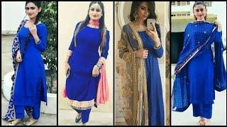 Royal Blue Suits With Contrast Dupatta Design Ll Latest Ideas Colour Combination Dupatta Design