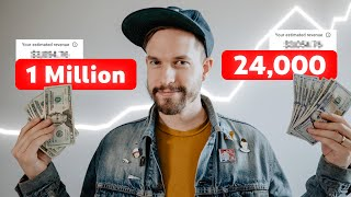 How Much Money YouTube Pays Me (1 Million vs. 24k Subscribers)